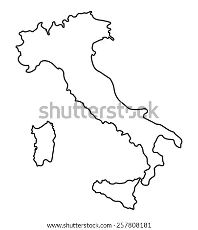 black abstract outline of Italy map  - stock vector