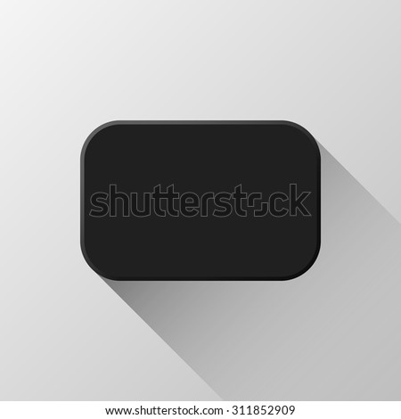 Black abstract rectangle badge, blank button template flat designed shadow and light background for web user interfaces, UI, applications and apps. Vector illustration.