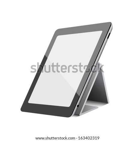 Black abstract tablet computer (pc) on white background - stock vector