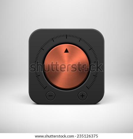 Black abstract technology app icon, button template with music volume knob, bronze metal texture (steel, chrome), realistic shadow and light background for user interfaces, UI, applications, apps. - stock vector