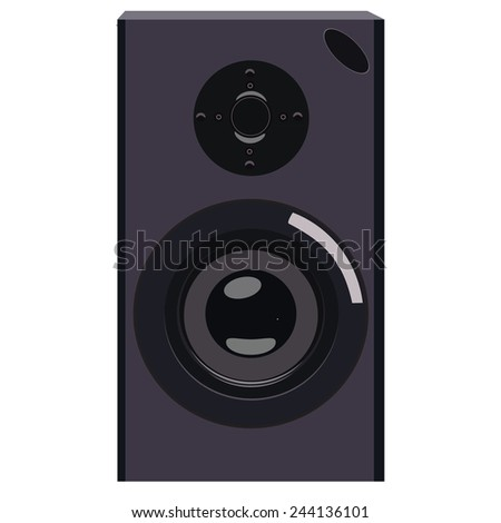 Black acoustic speaker vector isolated, musical equipment, professional electronic instrument - stock vector