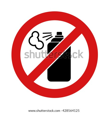 Black aerosol spray can icon on white background. No aerosol graffiti spray can sign icon. Aerosol paint symbol. - stock vector
