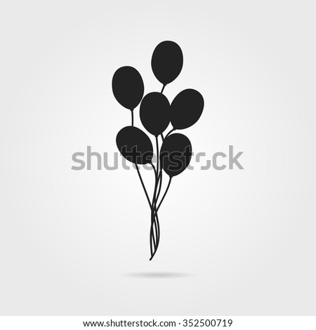 black air balloon icon with shadow. concept of valentine day, recreational, recreation park item, festival. isolated on gray background. flat style trend modern logo design vector illustration - stock vector