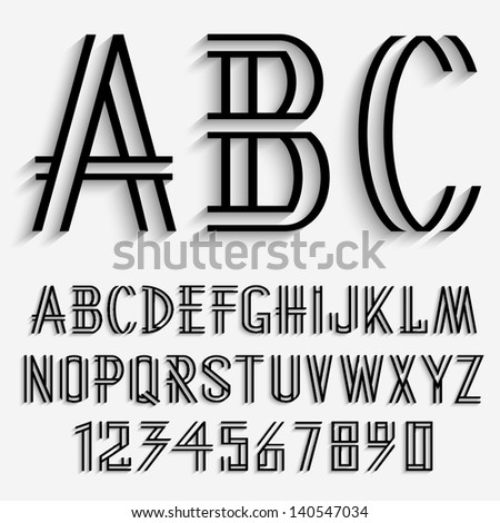Black Alphabet Letters Numbers Shadow Vector Stock 140547034