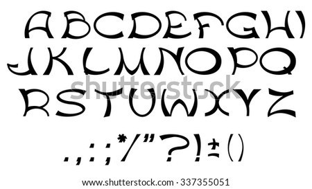 Black alphabet letters and punctuation