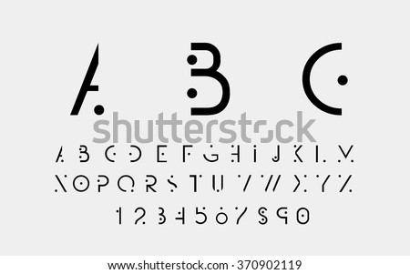 Black alphabetic fonts and numbers with black points. Vector eps10 illustrator. - stock vector