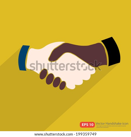 Black Americans and Caucasian American Handshake icon with shadow on yellow background  - stock vector