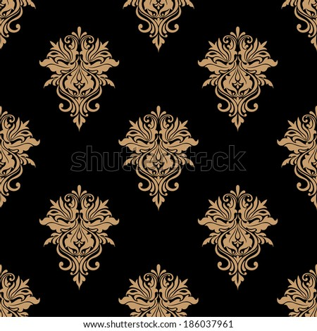 Black and beige floral seamless pattern with vintage flowers for wallpaper design - stock vector