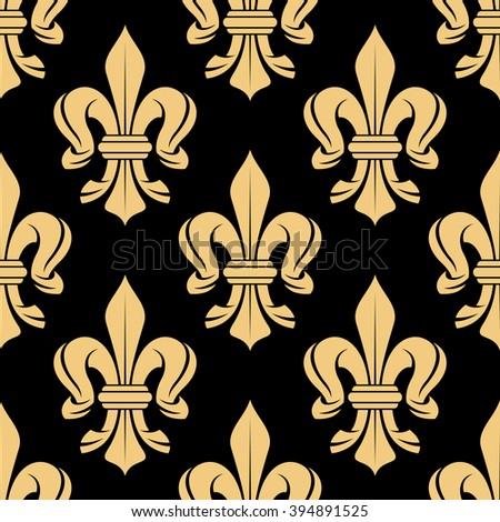 Black and beige royal seamless pattern with fleur-de-lis floral elements. For wallpaper, textile or interior design - stock vector