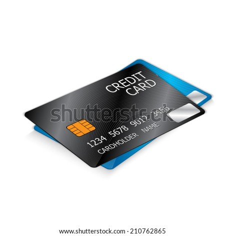 Black and Blue Credit Cards, Two Credit Cards Isolated on White Background. Vector illustration. - stock vector