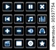 black and blue media player icons - stock vector