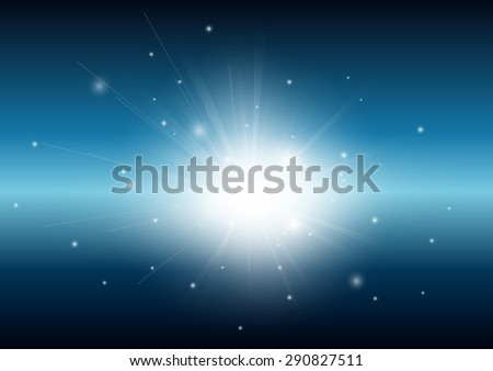 Black and blue with glowing light ray beam abstract background - stock vector
