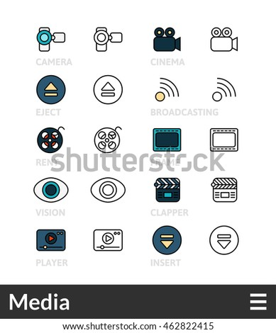 Black and color outline icons, slim line pictograms  - Media symbol collection