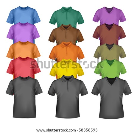 Black and colored t-shirts. Photo-realistic vector illustration. - stock vector