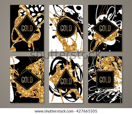 Black and Gold Banners Set, Greeting Card Design. Golden Brush Strokes. Vector Illustration. Painted Poster Invitation Template. - stock vector