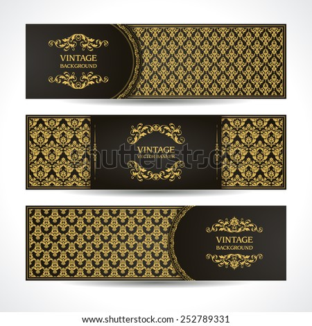 Black and gold banners VIP Vintage ornamental template with damask pattern and decorative frame. Invitation design, Greeting Card - stock vector