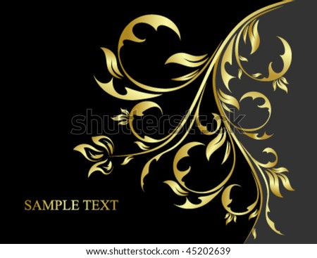 black and gold floral background - stock vector