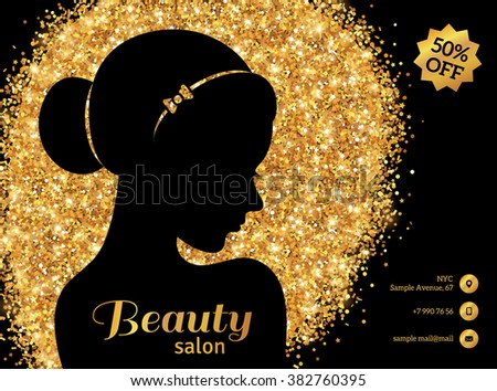 Black and Gold Flyer Template, Fashion Woman with Hair Bun. Vector Illustration. Stylish Salon Banner. Girl Silhouette: cosmetics, beauty, spa. Lights and Sparkles. Glowing Gift Card, Voucher Design. - stock vector