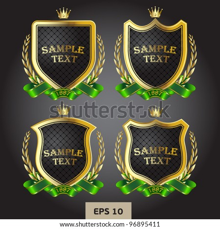 black and gold labels heraldic - stock vector