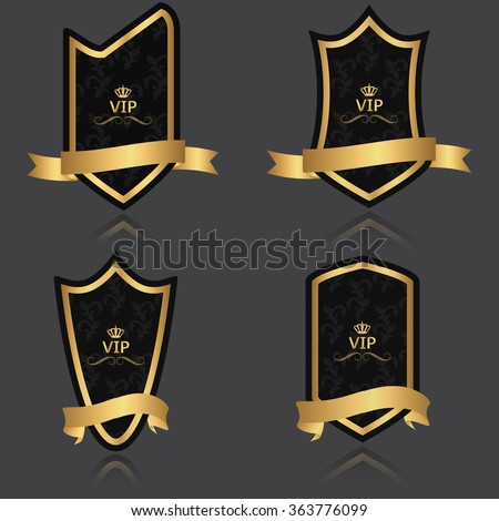 Black and gold labels heraldic.Vector - stock vector