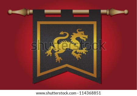 Black and gold medieval banner flag with cloth texture and symbol of a dragon - stock vector