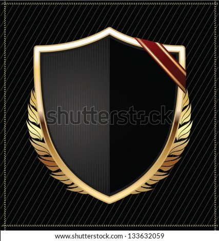Black and gold shield - stock vector