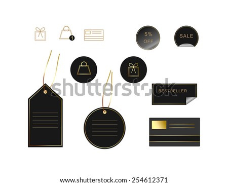 Black and golden e-commerce labels - stock vector