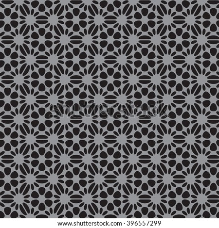 black and gray flower pattern abstract vector background. Modern stylish texture. - stock vector