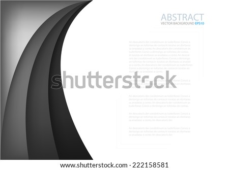 Black and grey background with dimension overlap layer curve on white space background for text and message design - stock vector