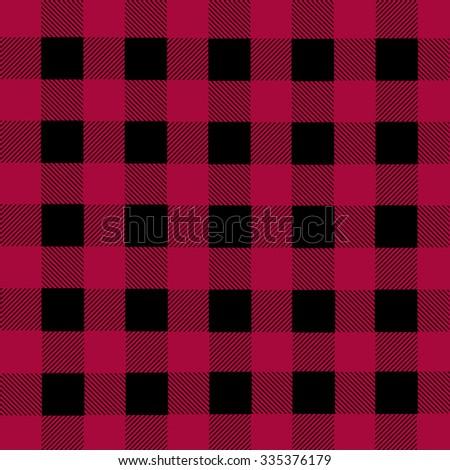 Black and magenta lumberjack plaid seamless pattern, vector illustration - stock vector