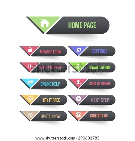 Black and Multicolored Vector Flat Web Buttons Set