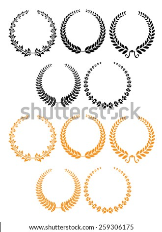 Black and orange heraldic laurel wreaths set for holiday, heraldry or ornate design - stock vector