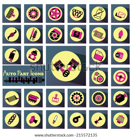 Black and pink car parts icon on the yellow circle on the ground is soft and shiny long dark blue square. - stock vector