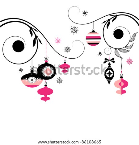 Black and Pink Christmas Ornaments - stock vector