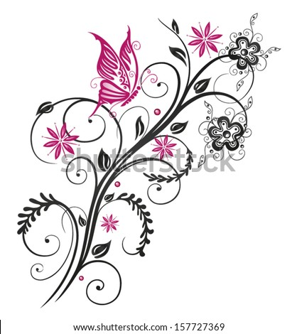 Pink And Black Flower Drawing Floral swirl Stock Pho...