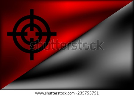 Black and red anarchy flag with crosshair.Vector illustration. - stock vector