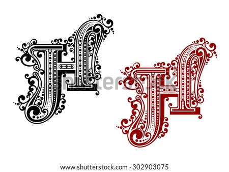 Black and red capital letter H in calligraphic floral style with decorative flourishes isolated on white background - stock vector