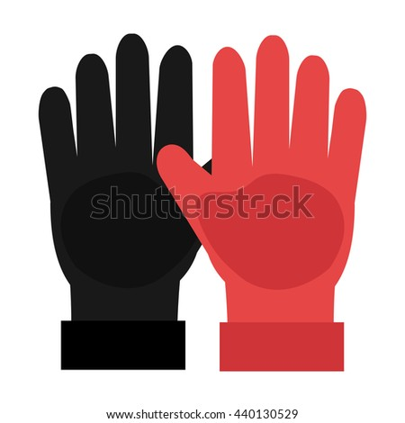 black and red gloves front view over isolated background,vector illustration - stock vector