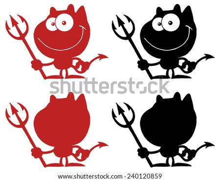 Black And Red  Silhouettes Of A Devil. Vector Collection Set - stock vector