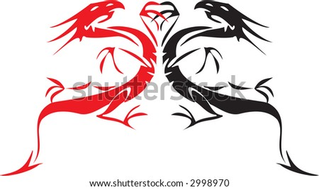 black and red tatoo dragons - stock vector