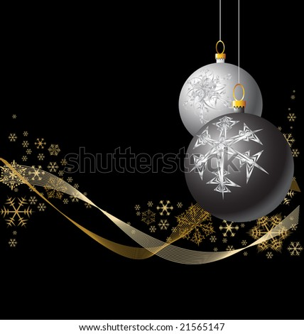 Black and Silver Christmas bulbs with golden snowflakes - stock vector