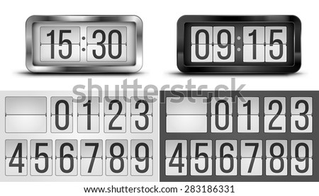 Black and silver flip  clocks, realistic design, vector illustration with template numbers