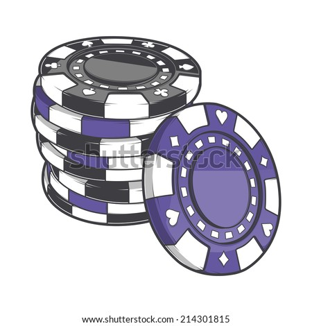 Black and violet stacks of gambling chips, casino tokens isolated on a white background. Color line art. Retro design. Vector illustration. - stock vector