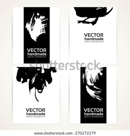 Black and white abstract brush texture hand drawing on banner set  - stock vector