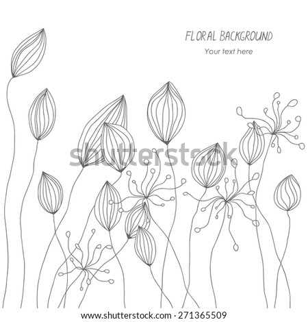 black and white abstract doodle floral background  - stock vector