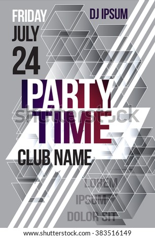 Black and white abstract flyer or brochure template graphic design. Poster for a night club event. party time cover. Vector Billboard nightclub - stock vector