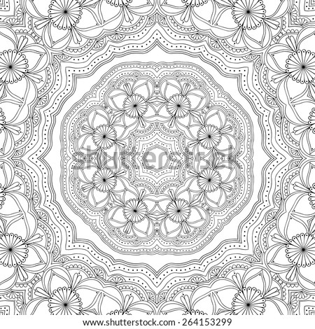 Black and white abstract ornamental background. Lace round ornament. Vector art - stock vector