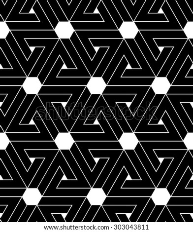 Black and white abstract textured geometric seamless pattern. Vector contrast textile backdrop with hexagons and triangles. Graphic contemporary inspired covering. - stock vector