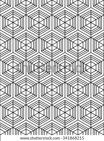Black and white abstract textured geometric seamless pattern. Vector contrast textile wallpaper with cubes and squares. Graphic contemporary monochrome covering.
