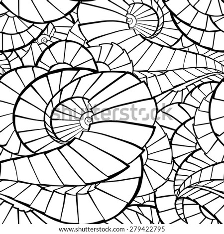 Black and white abstract twirls elements vector seamless pattern - stock vector